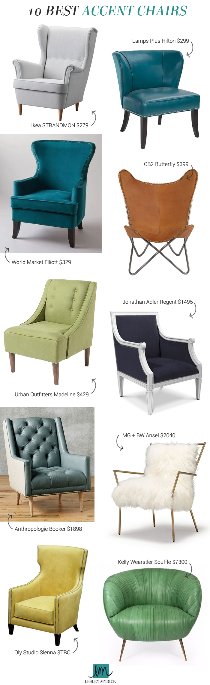 Lesley's Picks: 10 Best Accent Chairs