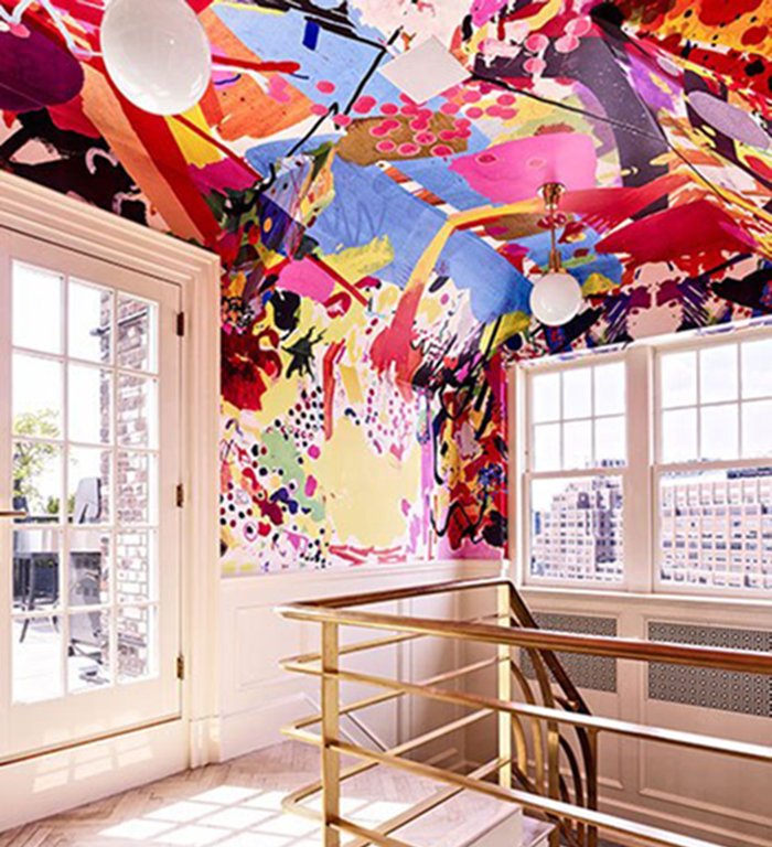 Architectural Digest - amazing ceiling wallpaper | Blogged by #lesleymyrick