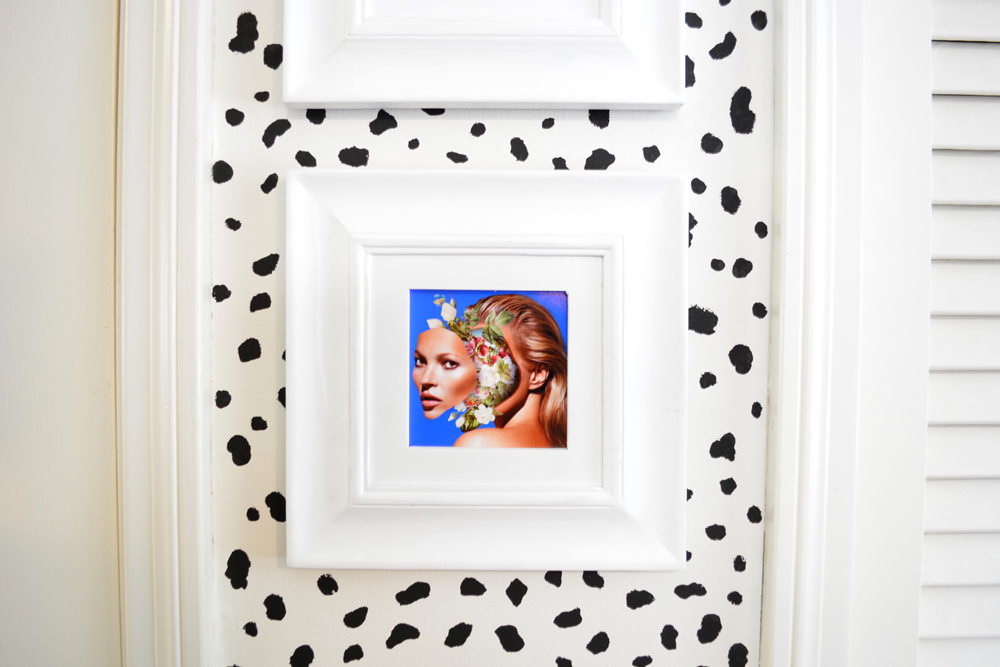 DIY dalmatian print wall with a framed collage by artist Marcelo Monreal | Interior design by @lesleymyrick