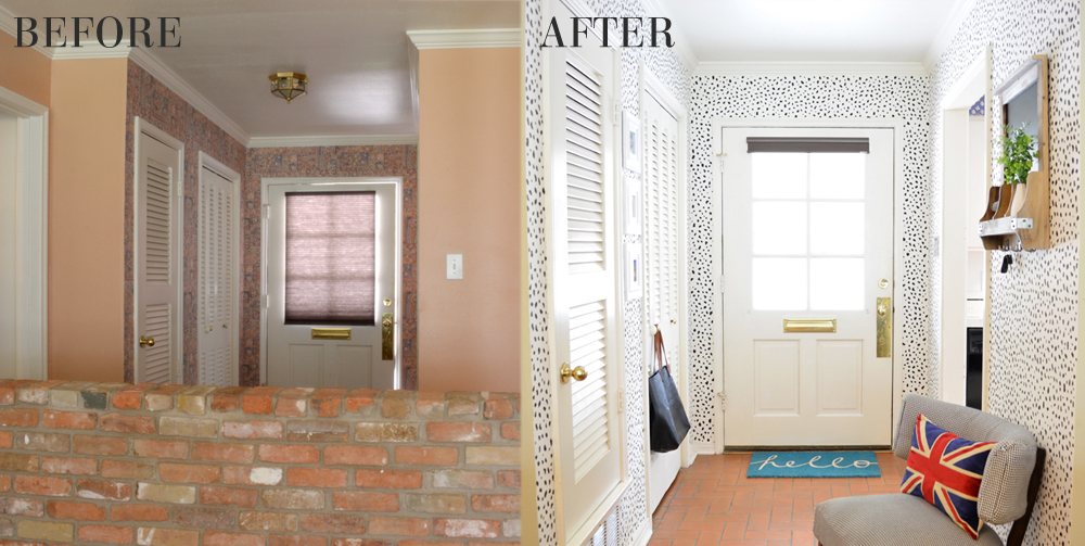 Foyer with DIY dalmatian print wallpaper - before and after by interior stylist @lesleymyrick
