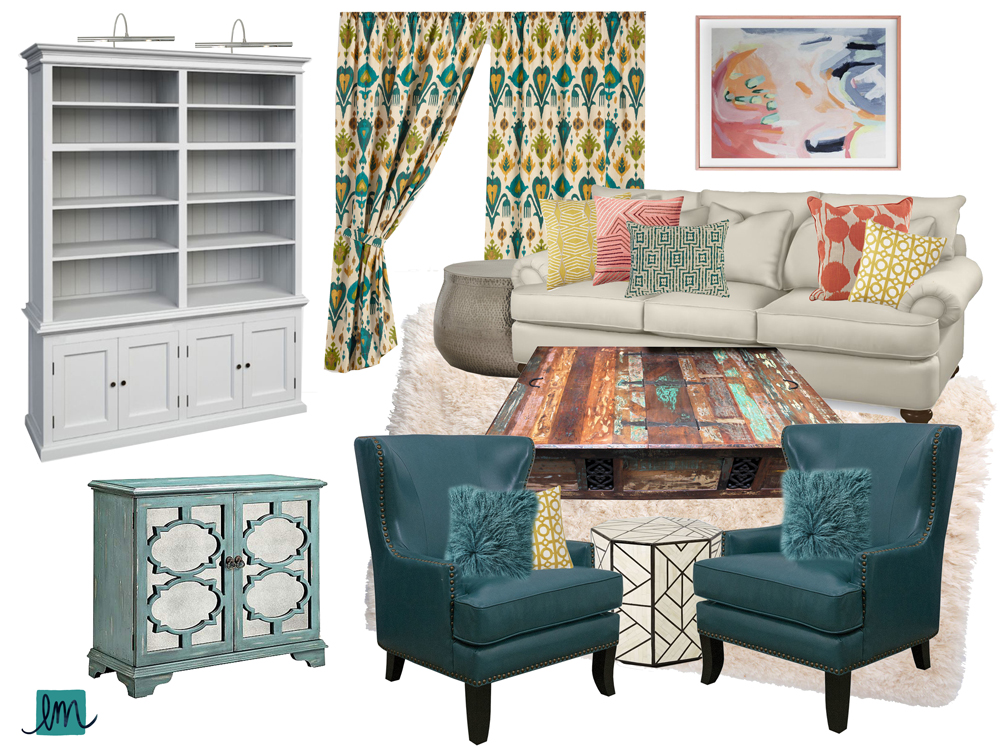 A Dreamy Teal, Aqua, and Coral Living Room