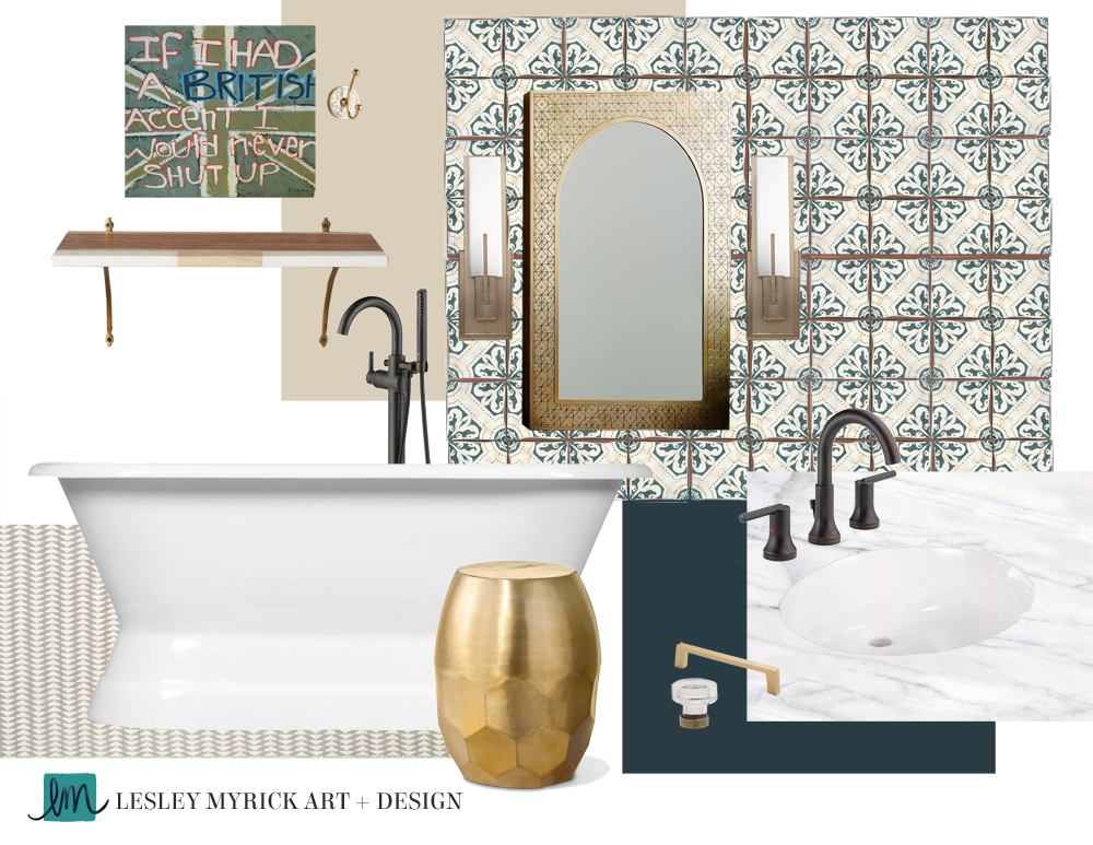 A fresh and eclectic bathroom design moodboard by Interior Stylist Lesley Myrick