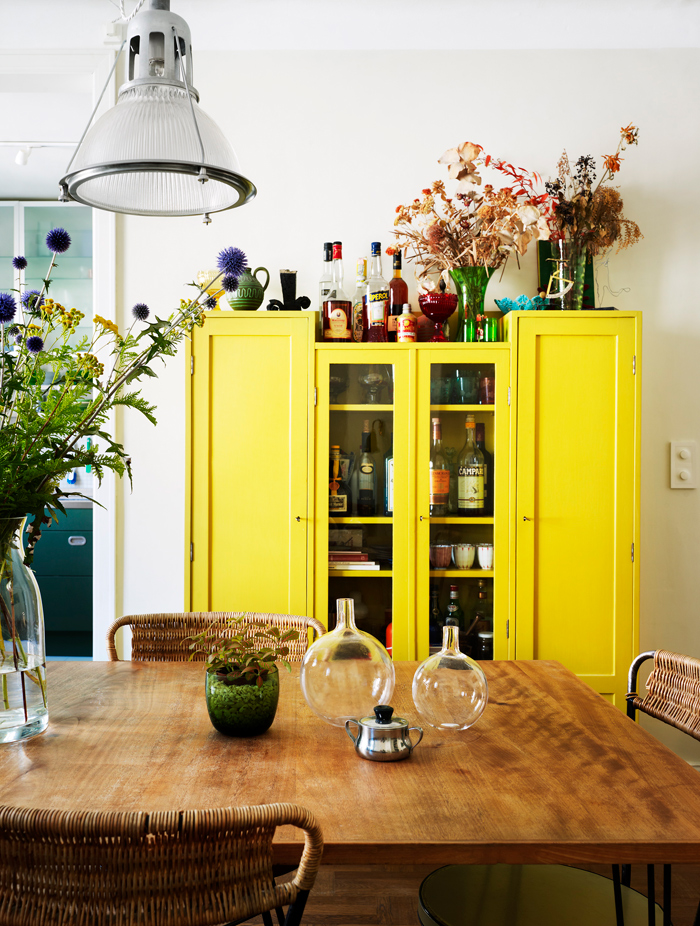 Unexpected Colorful Kitchens roundup from designer Lesley Myrick | Yellow and teal cabinets