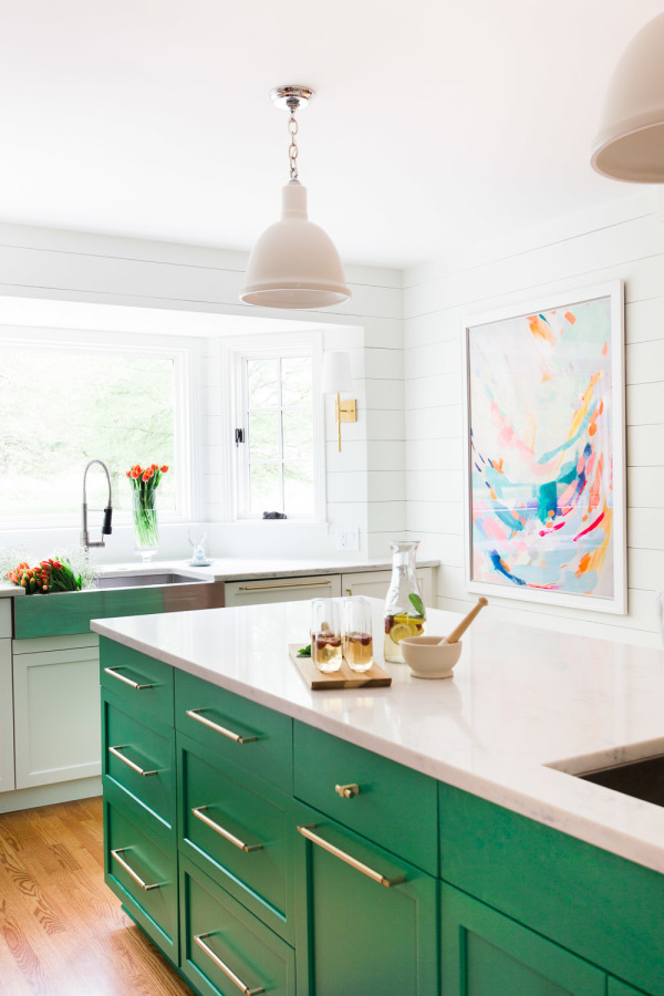 Unexpected Colorful Kitchens roundup from designer Lesley Myrick | Emerald green kitchen cabintets