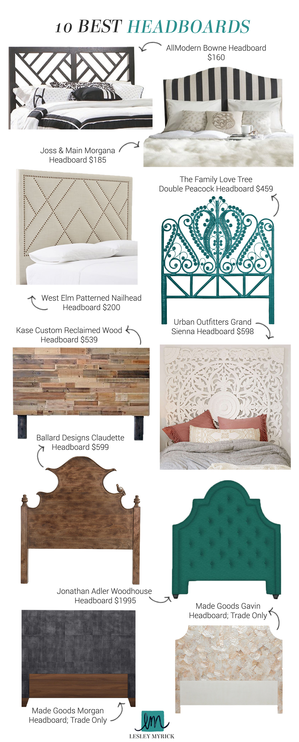 The 10 best headboard picks from interior stylist Lesley Myrick | Dress up your badass bedroom