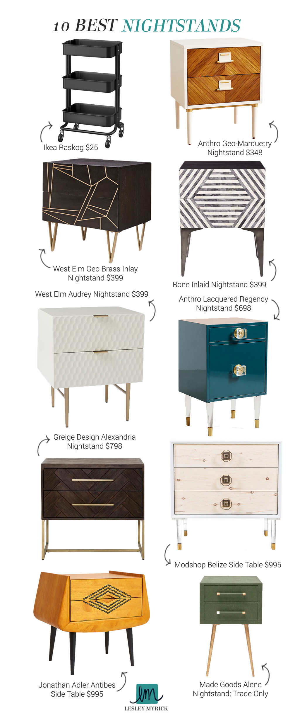 The 10 best nightstands - designer picks from interior stylist Lesley Myrick