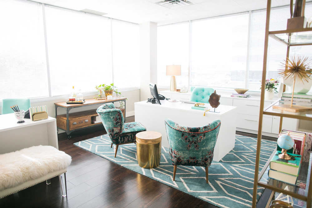 A chic and badass realtor's office in Waco, TX by interior stylist Lesley Myrick