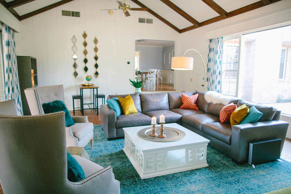 Project Reveal: A Colorful Mid Century Modern Living Room - Lesley ...