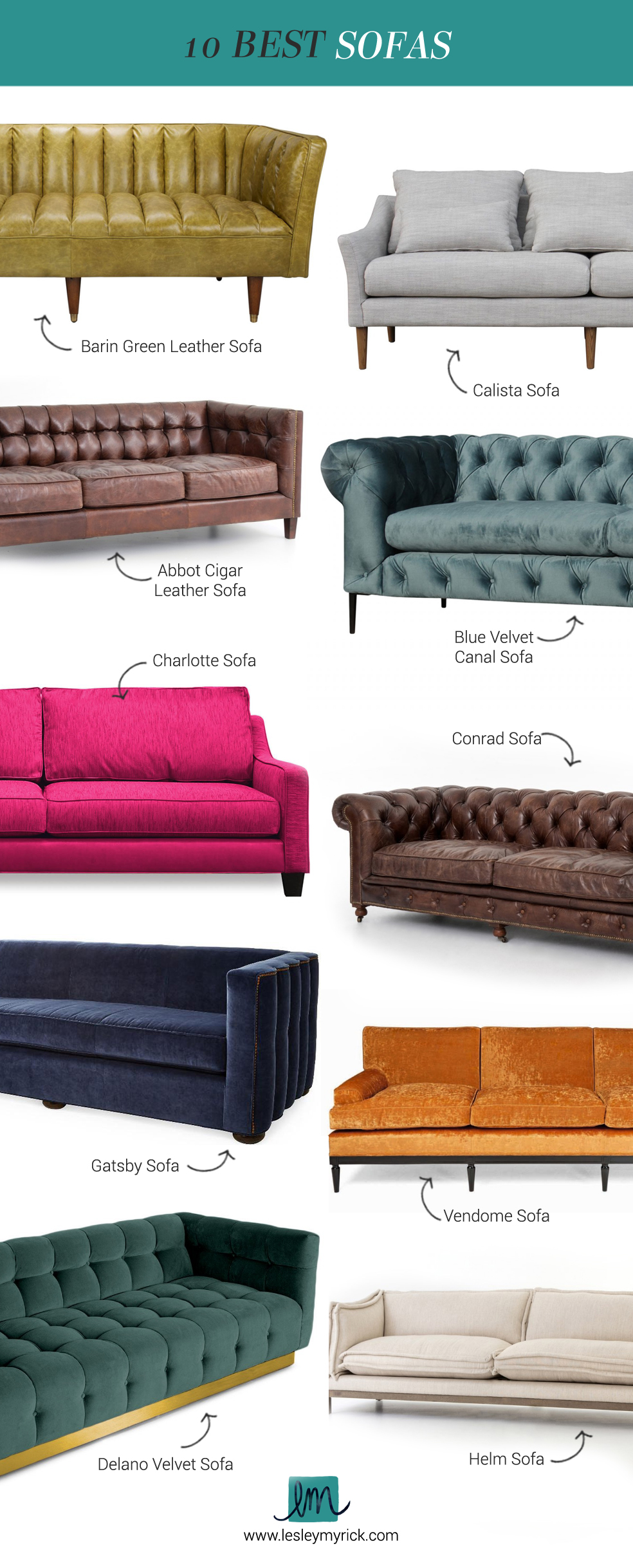 Barin Green Leather Sofa | 2. Calista Sofa | 3. Abbot Cigar Leather Sofa |  4. Blue Velvet Canal Sofa | 5. Charlotte Sofa | 6. Conrad Sofa | 7.