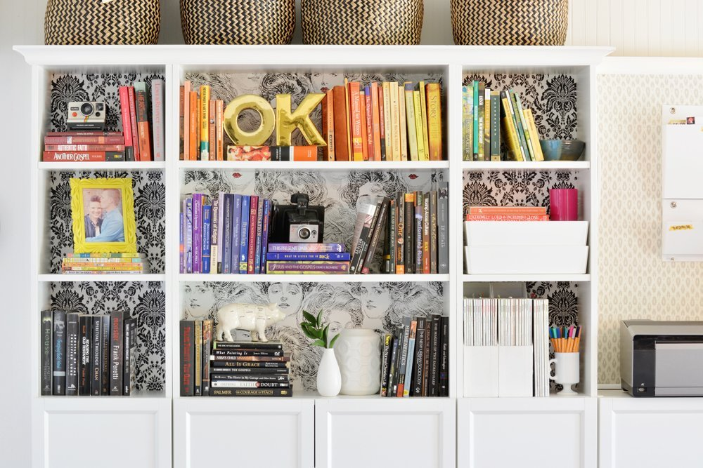 organized book case in home office