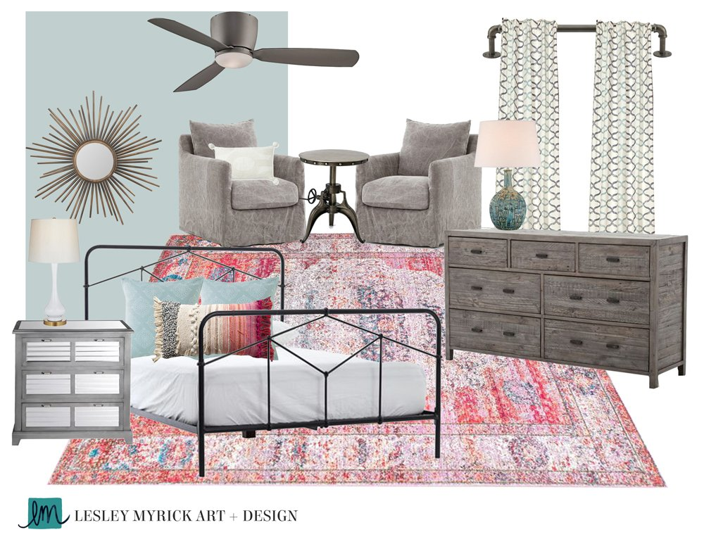 Love this master bedroom moodboard designed by Lesley Myrick! (She's also got great tips on how to work with an interior designer virtually).