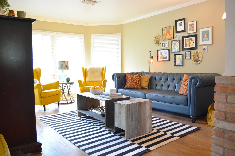Before and After: A Family-Friendly Living Room with a Teal Sofa and a gallery wall