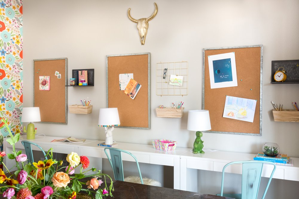 A colorful kid's craft room and home office in Waco, Texas