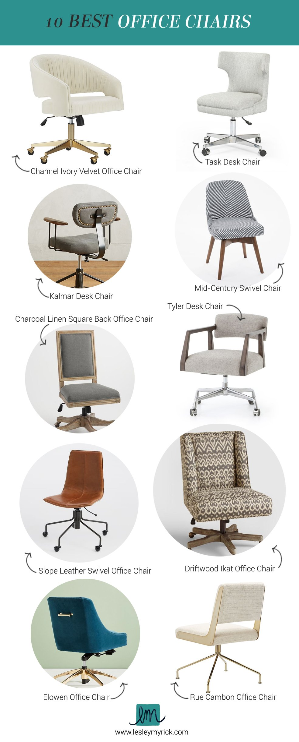 10 best office chairs | Home office inspiration from interior designer Lesley Myrick