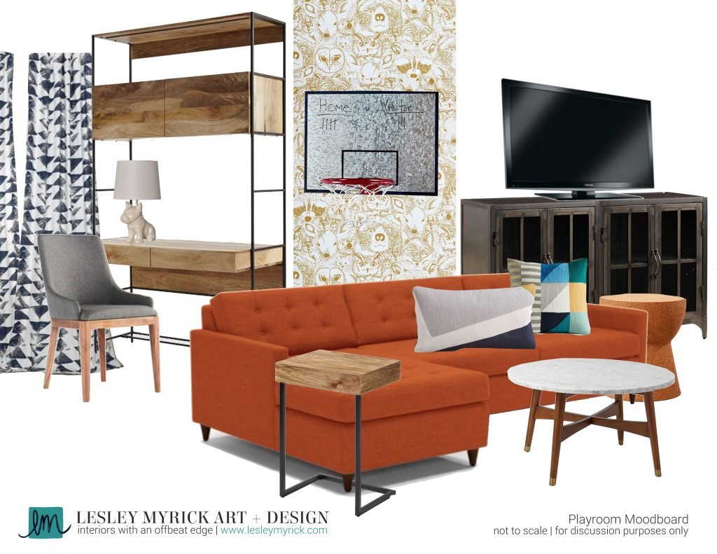 This cool kids playroom puts my first apartment to shame! Loving this moodboard from interior designer Lesley Myrick.