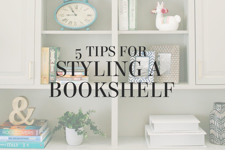 5 tips for styling a bookshelf from interior designer Lesley Myrick. No more boring bookshelves for you!
