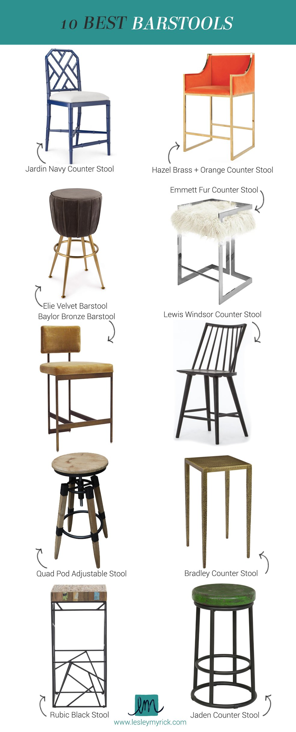 10 awesome barstool and counter stool picks from interior designer Lesley Myrick (orange velvet! fur! brass!)