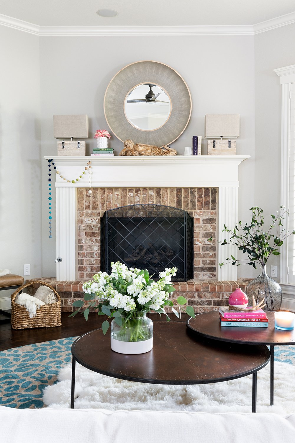 waco living room styled with neutral home decor accessories