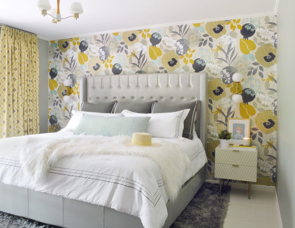 Before and After: a Mid-Century Master Bedroom with a funky floral accent wall
