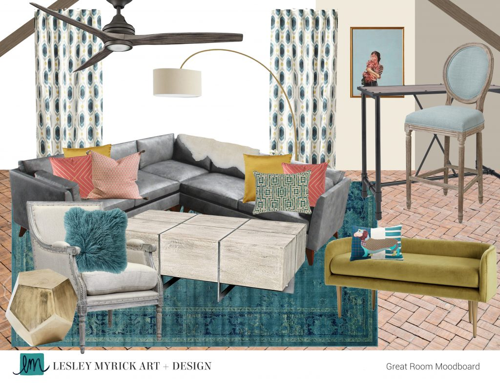 Love this colorful great room moodboard designed by Lesley Myrick! (She's also got great tips on how to work with an interior designer virtually).