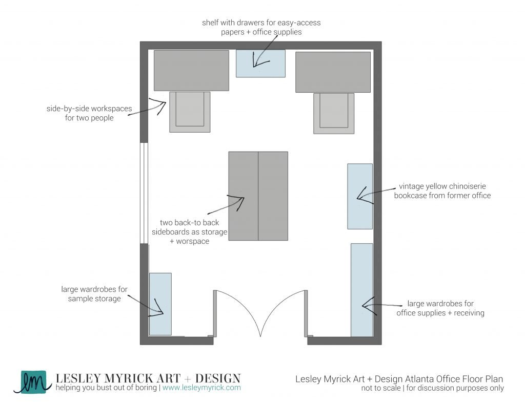 Our Atlanta Interior Design Office: Before! Take a tour of interior designer Lesley Myrick's new office space and see how she's transforming a boxing grey box into a kickass home office.  Here's the floor plan.