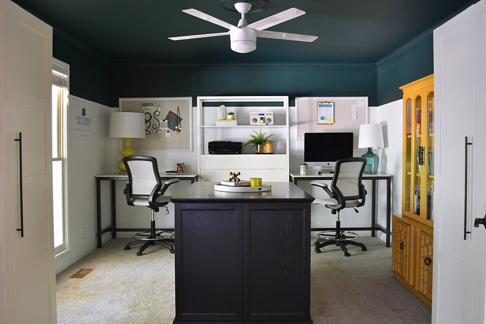 Check out this before-and-after of an Atlanta interior designer's office! LOVE the teal ceiling.