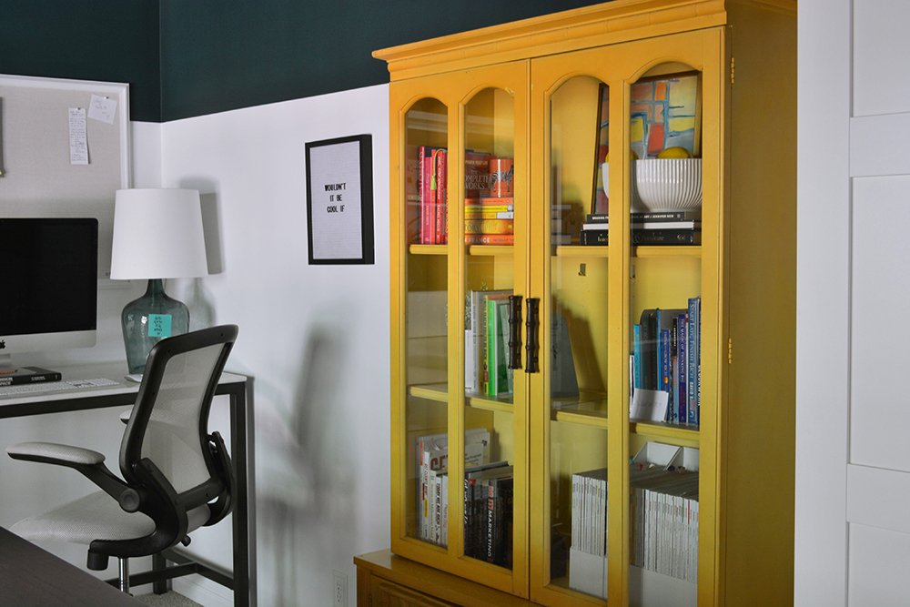 Check out this before-and-after of an Atlanta interior designer's office! LOVE this vintage yellow bookcase.