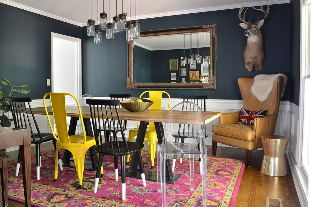 Before and After: A Dramatic Navy Dining Room reveal in Atlanta, Georgia by interior designer Lesley Myrick