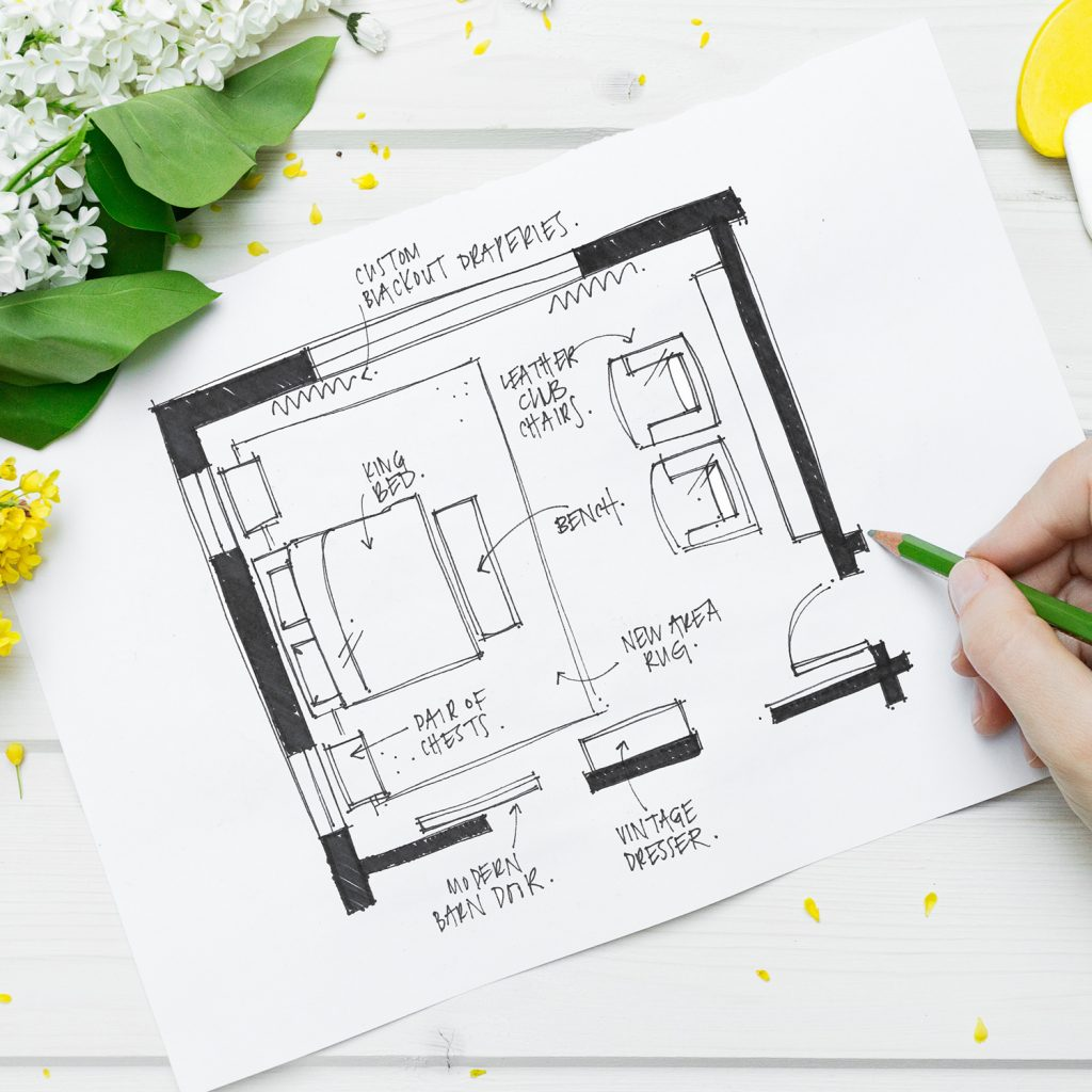 What is a Design Jumpstart? Here's how Lesley Myrick helps homeowners bust out of boring in just two hours (including suggested floor plan sketches).