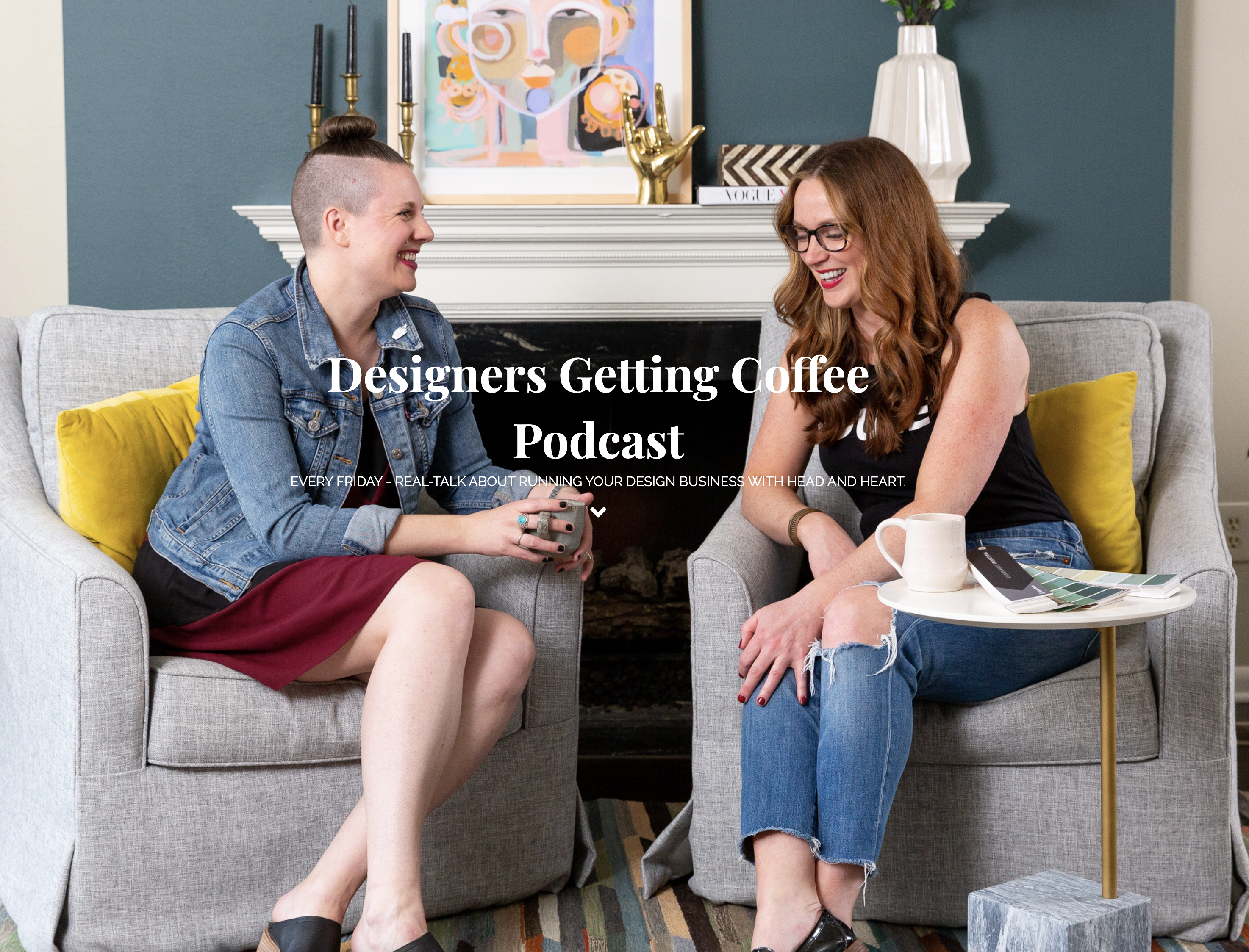 Business podcast for interior designers - Designers Getting Coffee with Lesley Myrick and Kate Bendewald