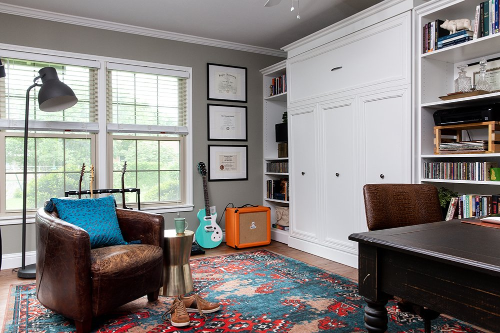 Whoa! Check out the before and after of this home office / guest bedroom space.