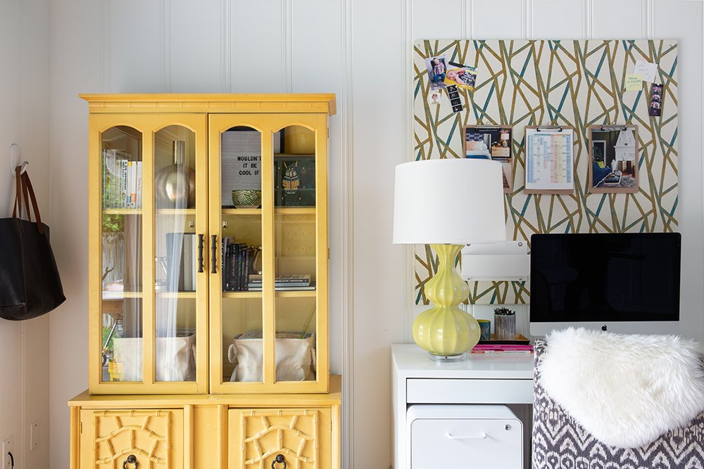 Pretty vintage Chinoiserie cabinet in an interior designers's home office