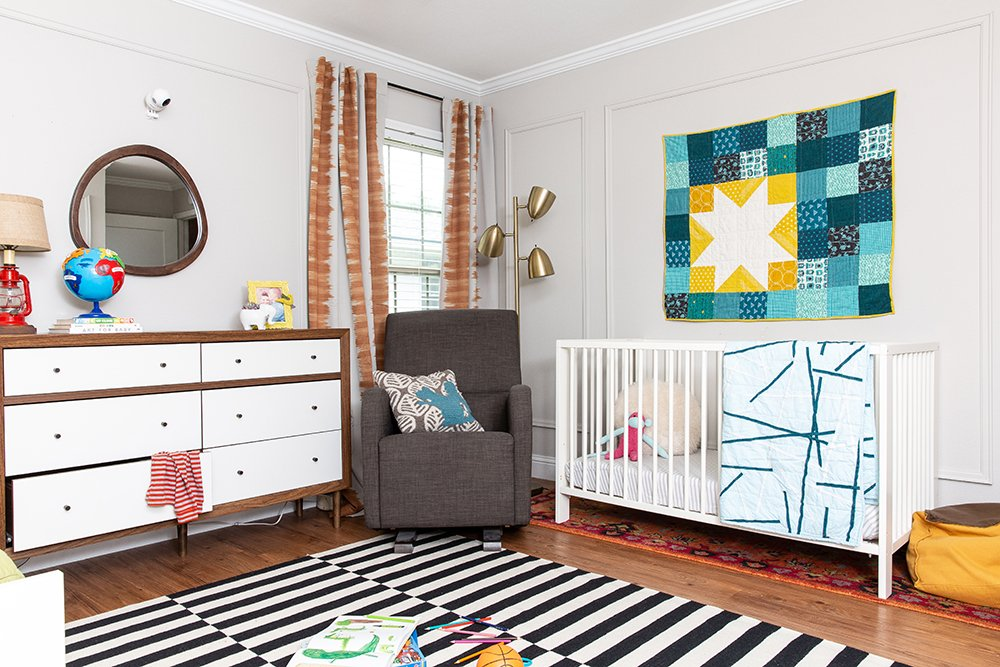 A colorful kids bedroom by interior designer Lesley Myrick, shared by a boy and girl