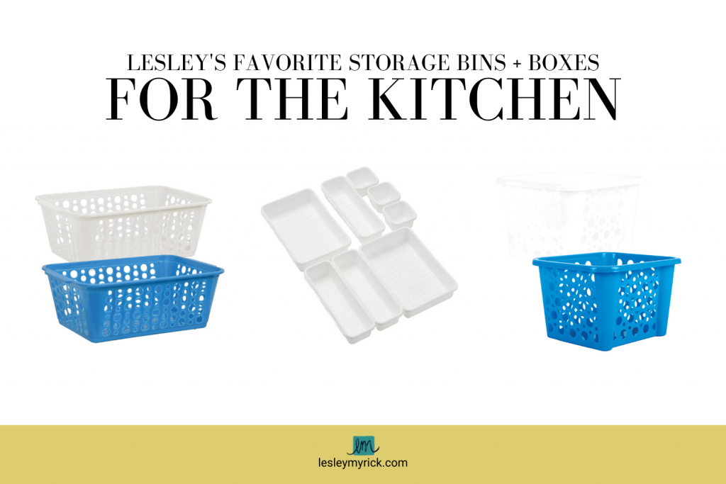 Interior designer (and professional organizer) Lesley Myrick's favorite storage bins and boxes for the kitchen