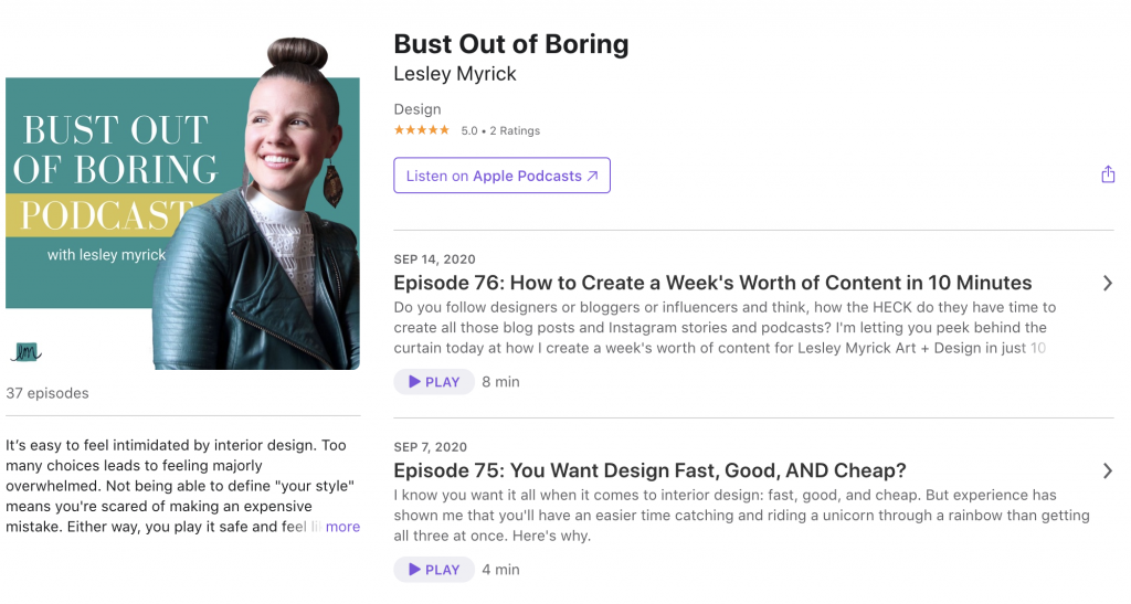 Bust Out of Boring podcast by Lesley Myrick on iTunes