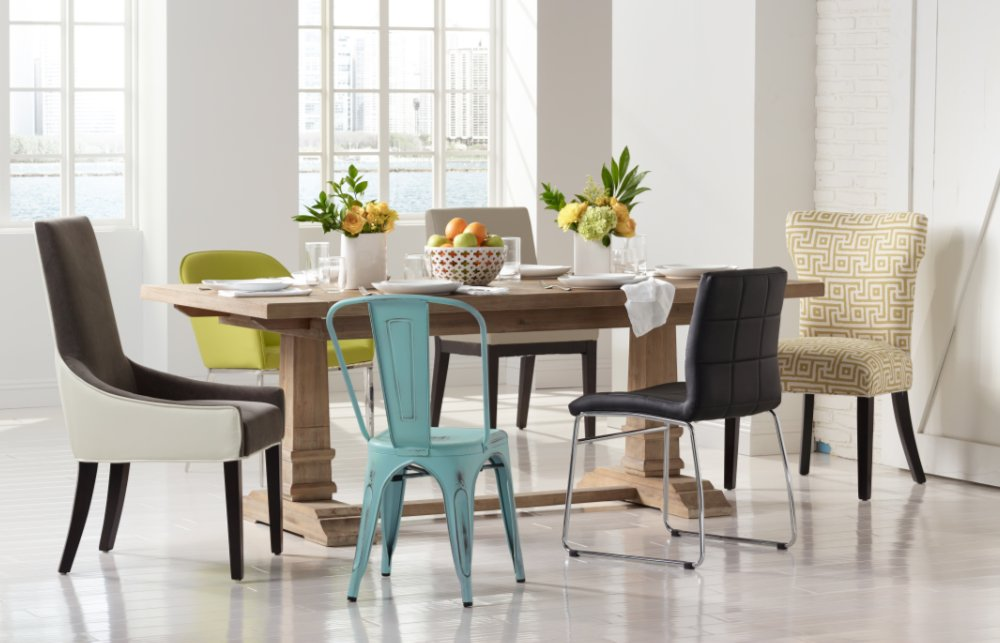 Eclectic dining room design in a modern loft by Lesley Myrick