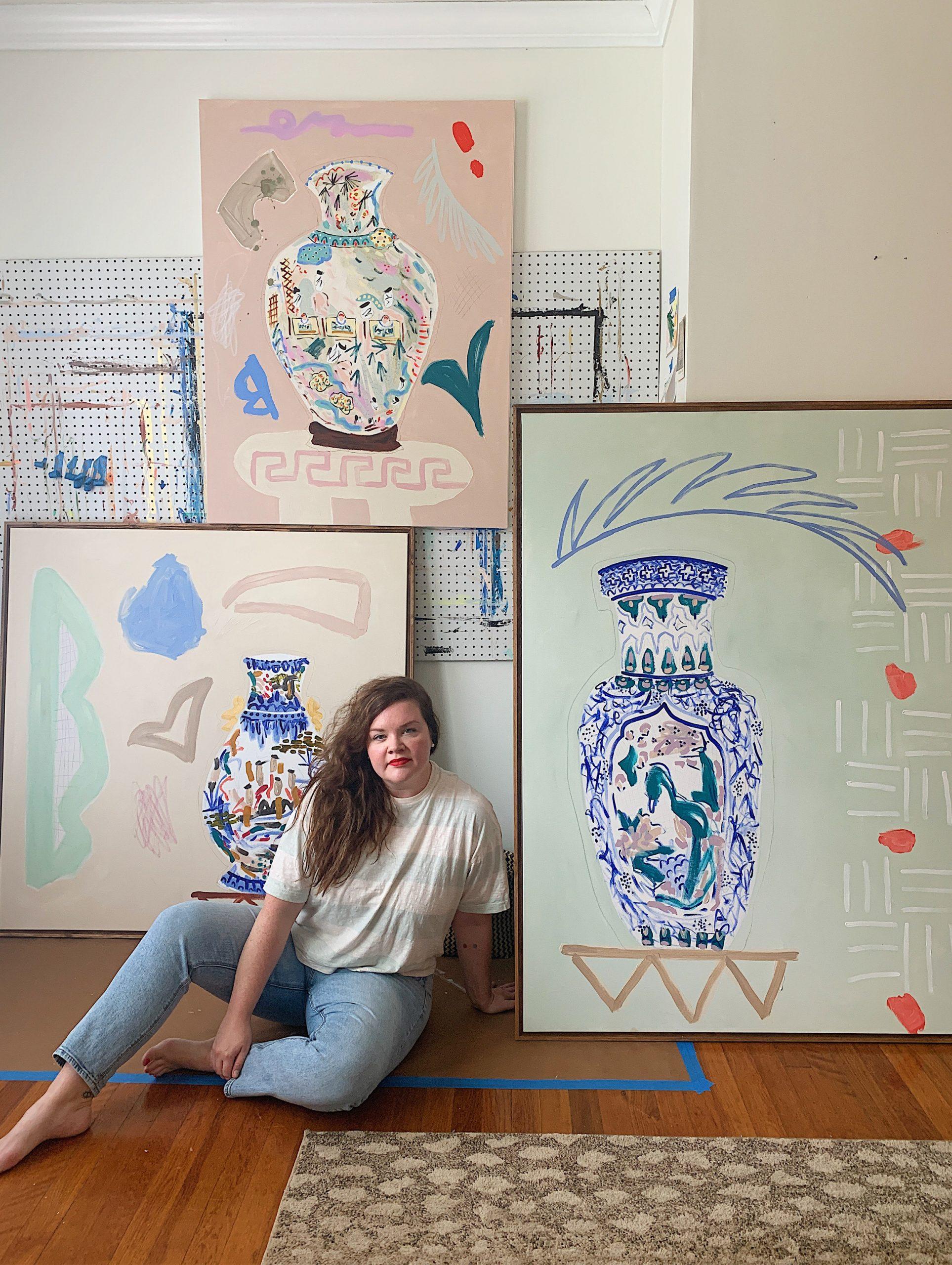 Artist Kathleen Jones in her studio