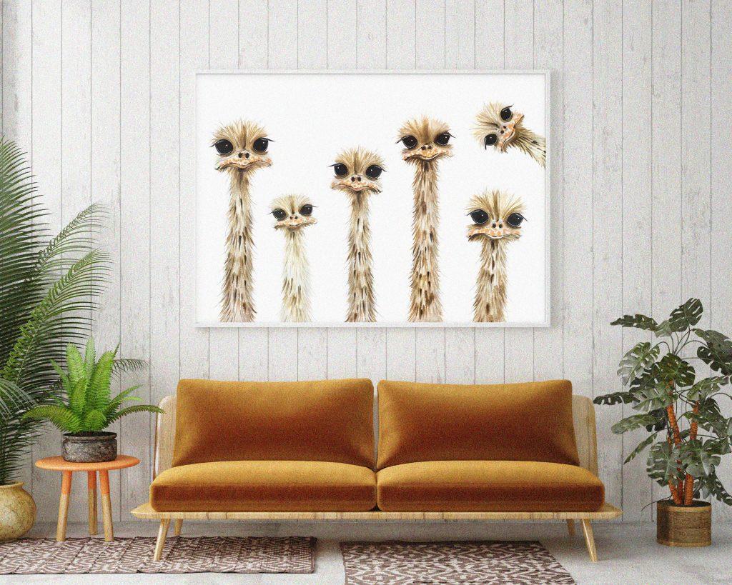 Ostriches by Rachel Brown Art