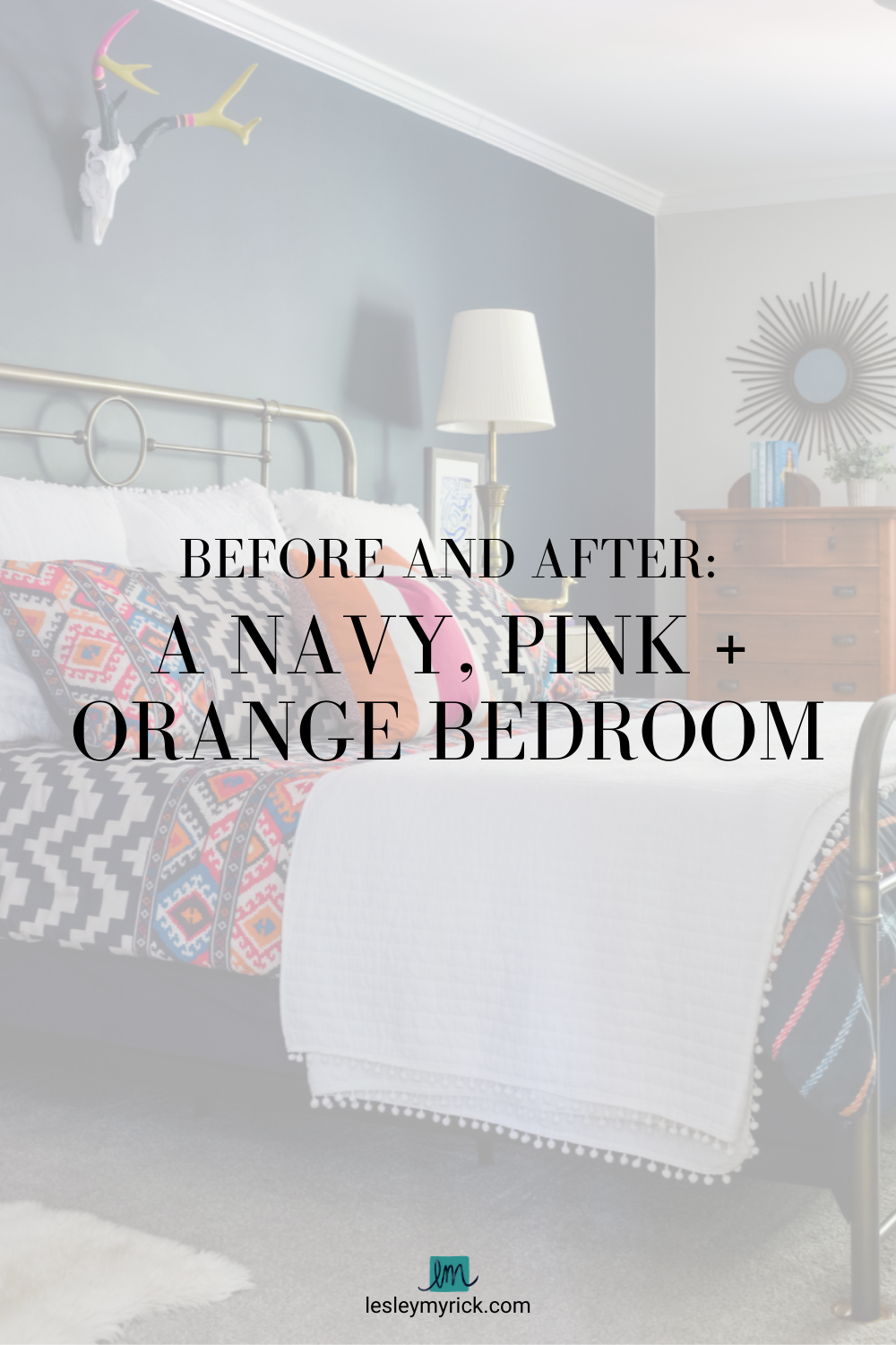 Before and After: A Navy, Pink and Orange Bedroom
