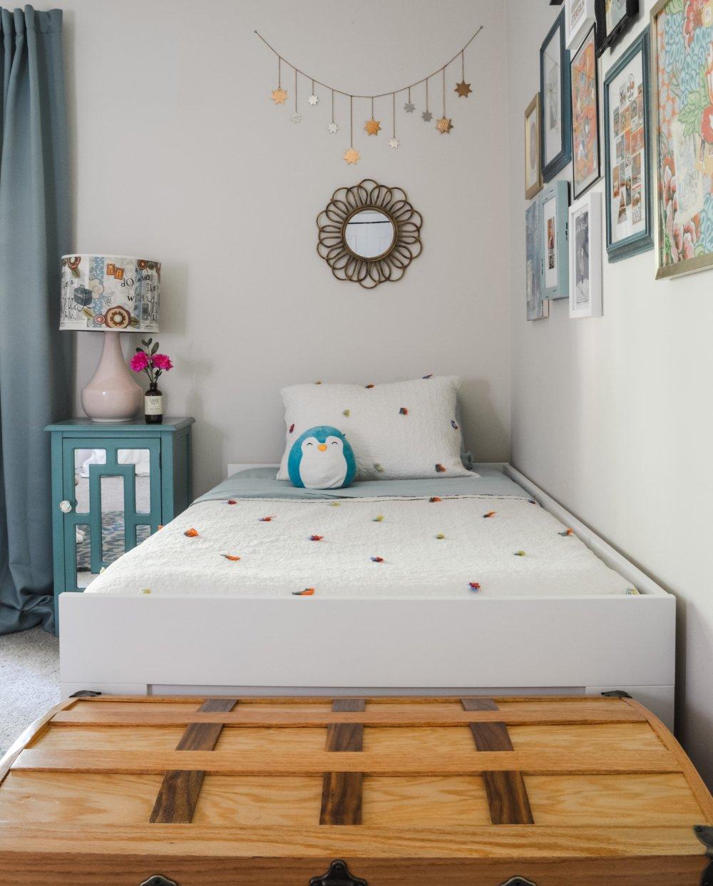A pretty bedroom designed for a preschool girl