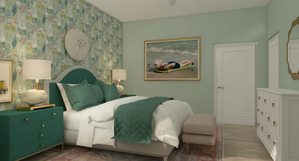 A green and pink bedroom 3D rendering from Lesley Myrick Art + Design