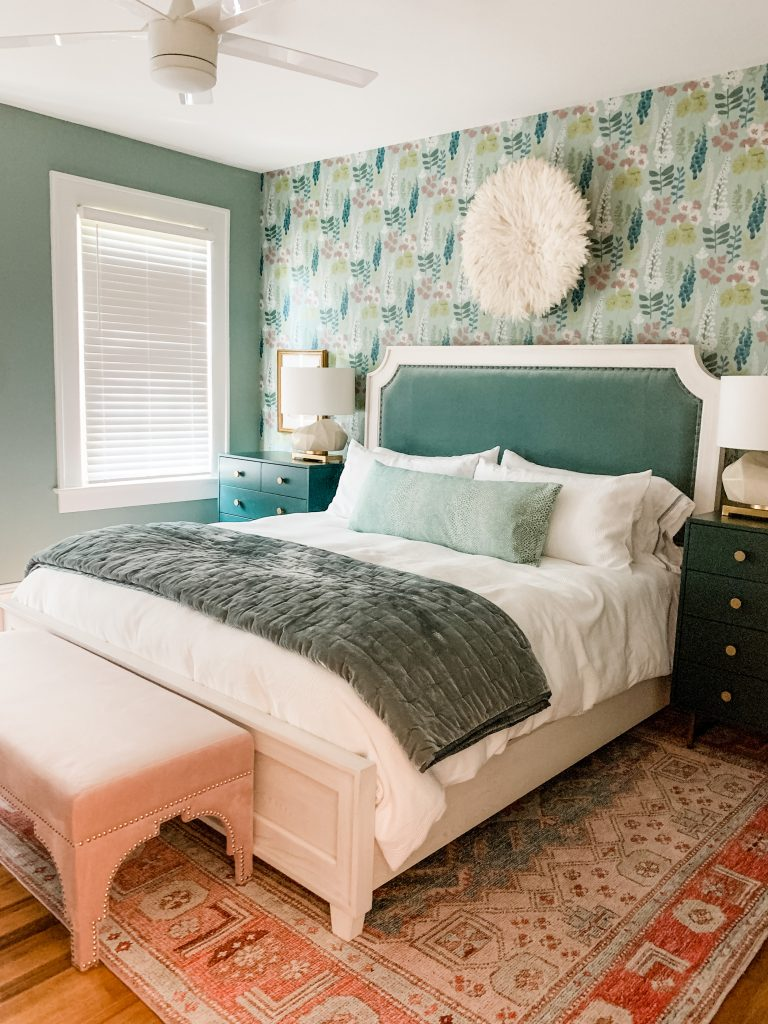 A green and pink bedroom from Lesley Myrick Art + Design