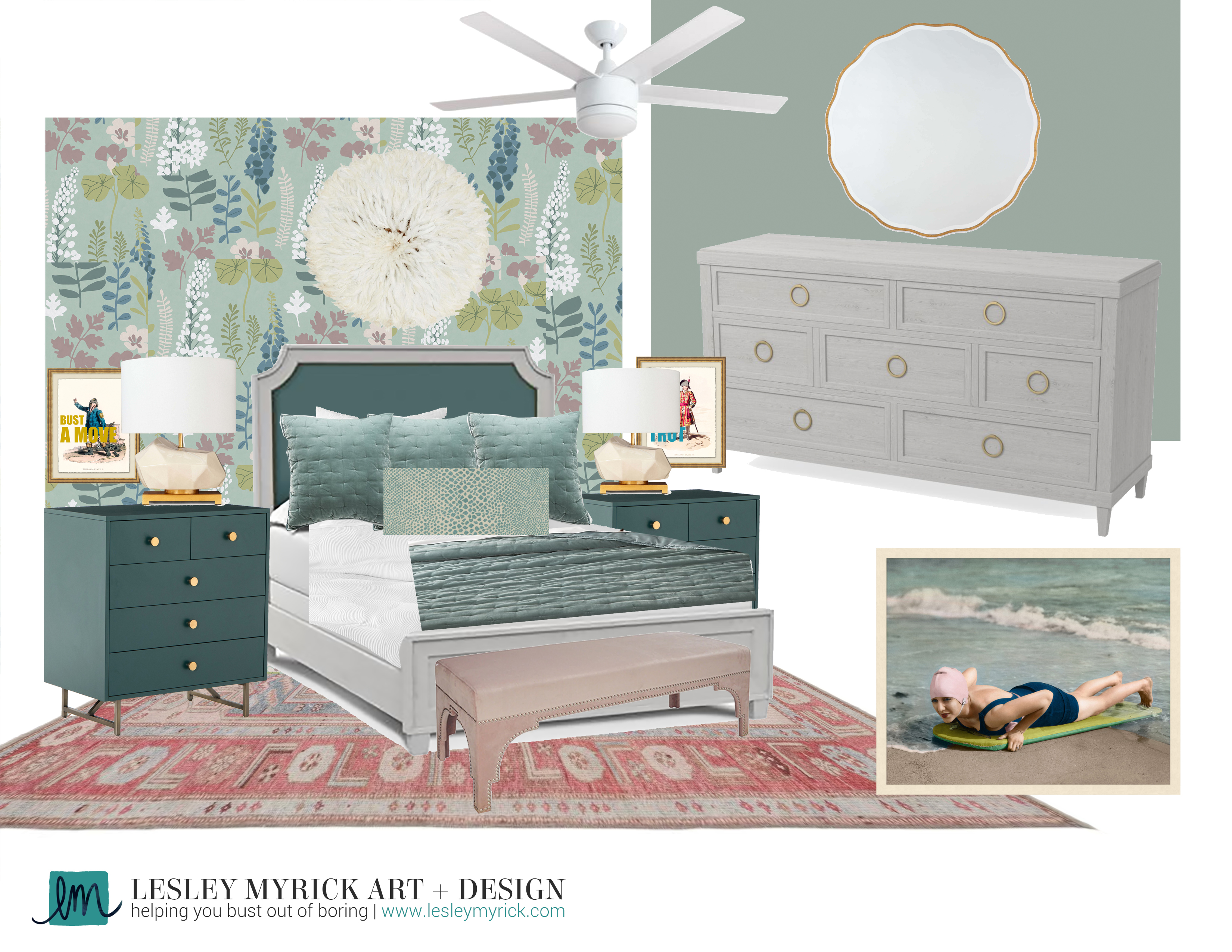A moodboard of a green and pink bedroom from Lesley Myrick Art + Design