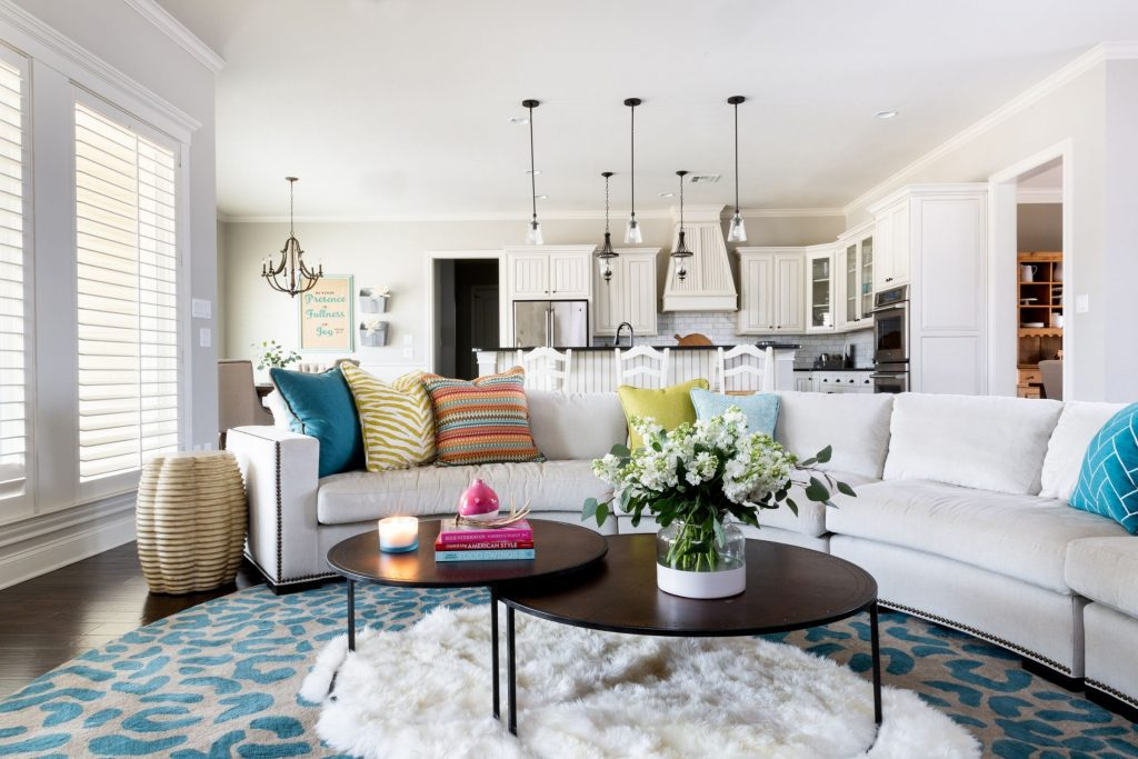 Colorful farmhouse living room with bold patterns