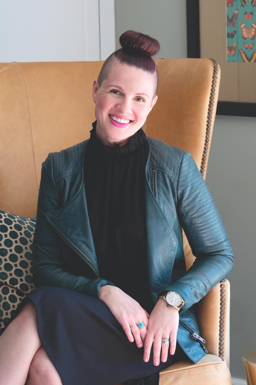 Atlanta interior designer Lesley Myrick at her home office.